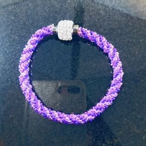 Jewelry - Kumihimo Bracelet with magnetic rhinestone clasp.